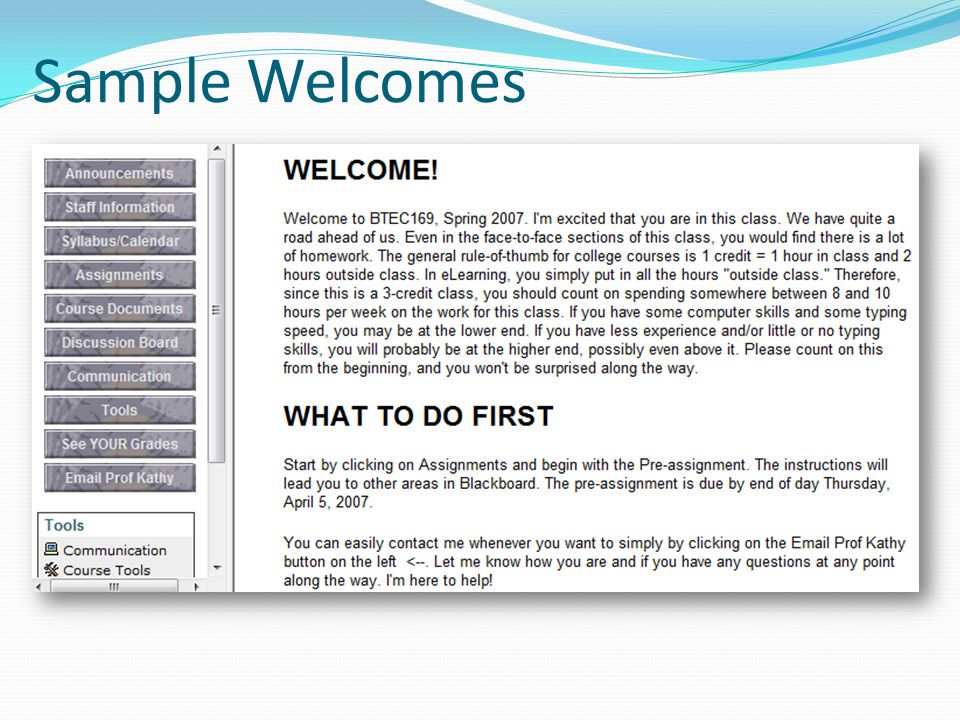 Sample Welcomes