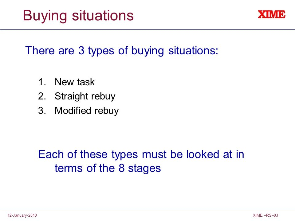 Buying situations There are 3 types of buying situations: