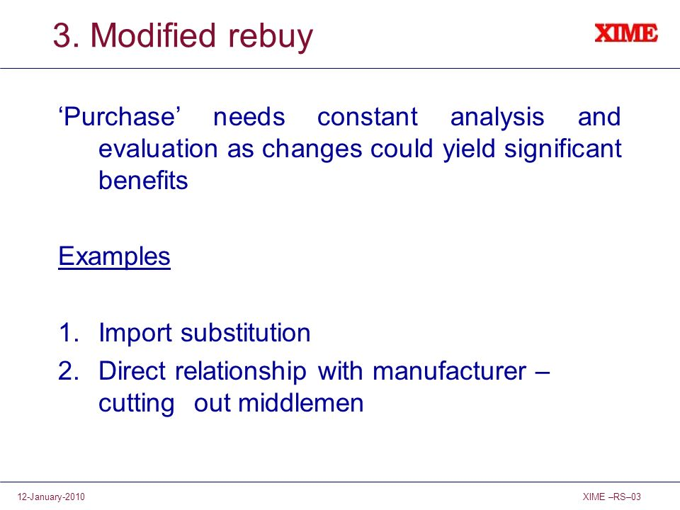 3. Modified rebuy 'Purchase' needs constant analysis and evaluation as changes could yield significant benefits.
