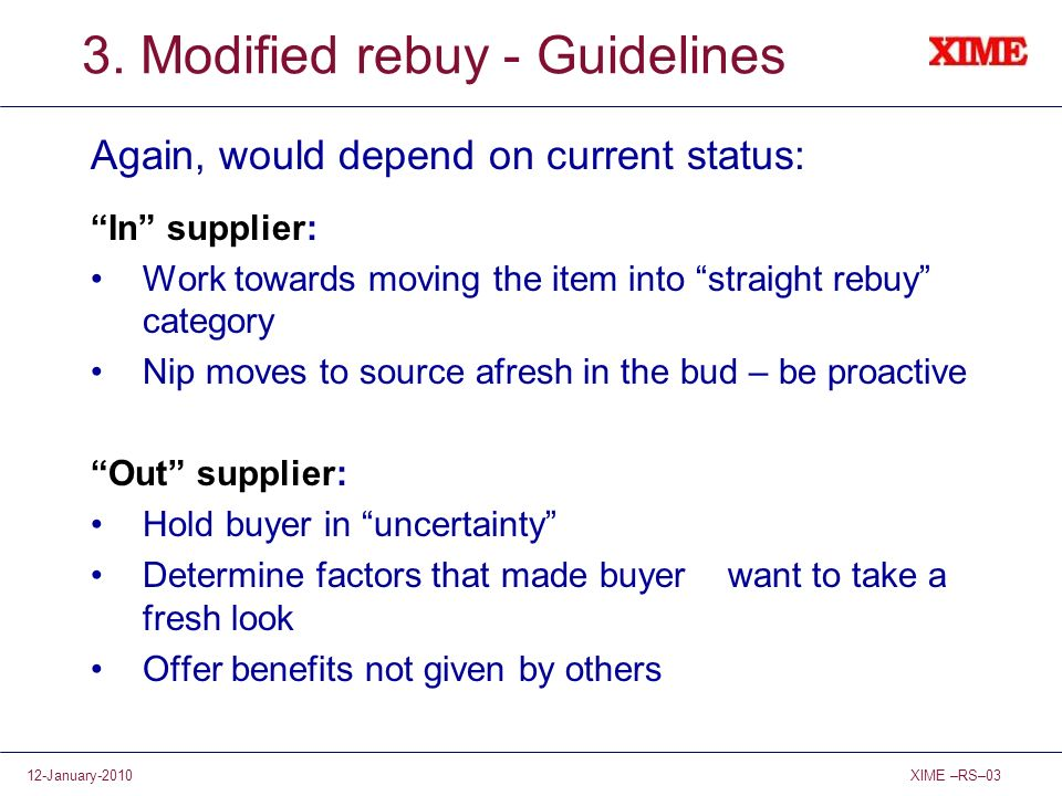 3. Modified rebuy - Guidelines
