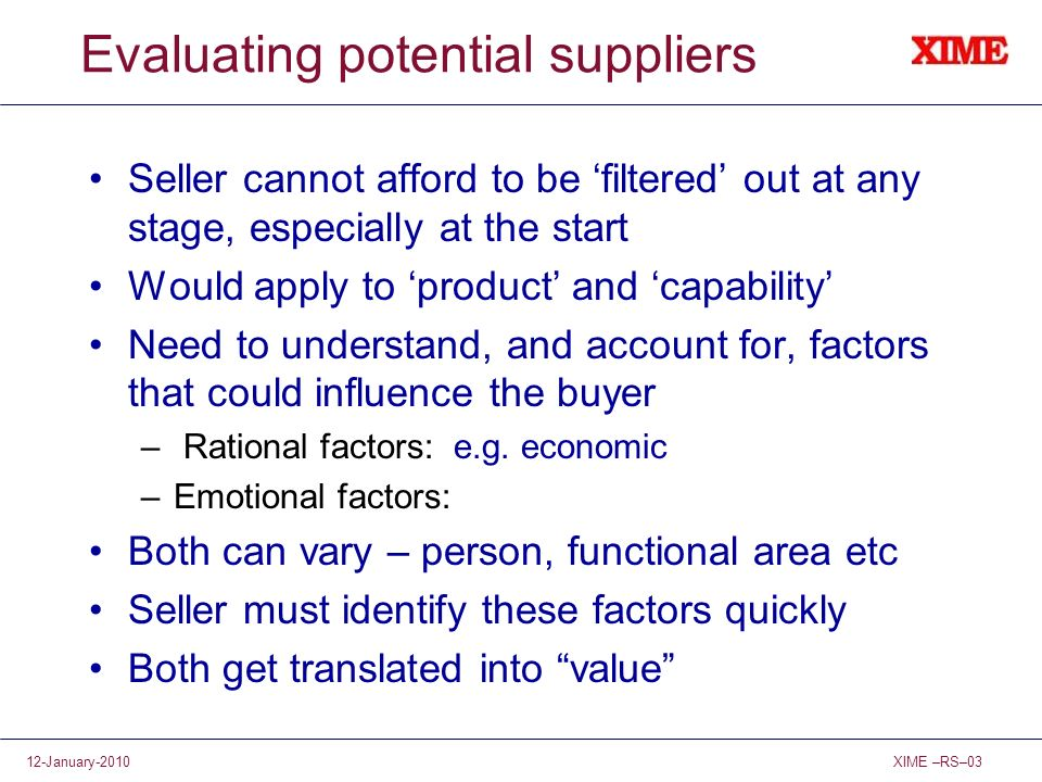 Evaluating potential suppliers