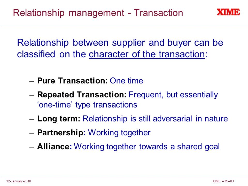 Relationship management - Transaction