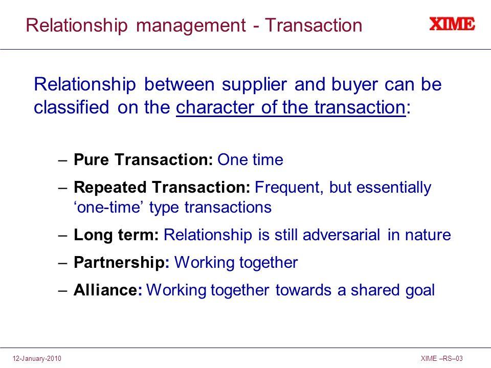 Relationship management - Transaction
