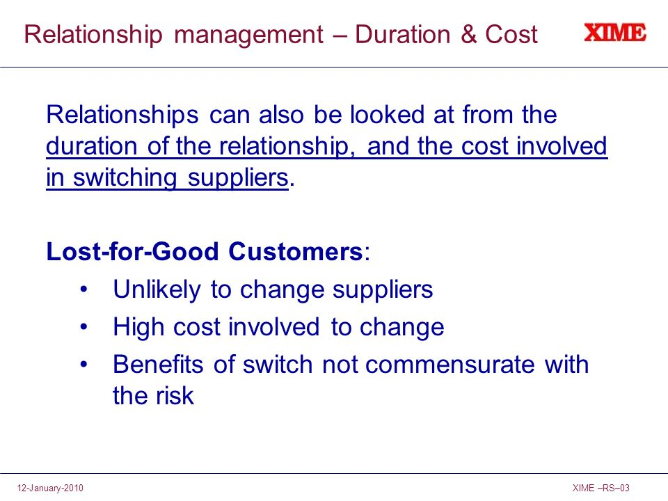 Relationship management – Duration & Cost