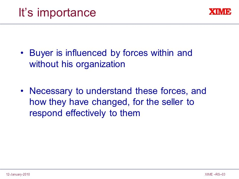 It's importance Buyer is influenced by forces within and without his organization.