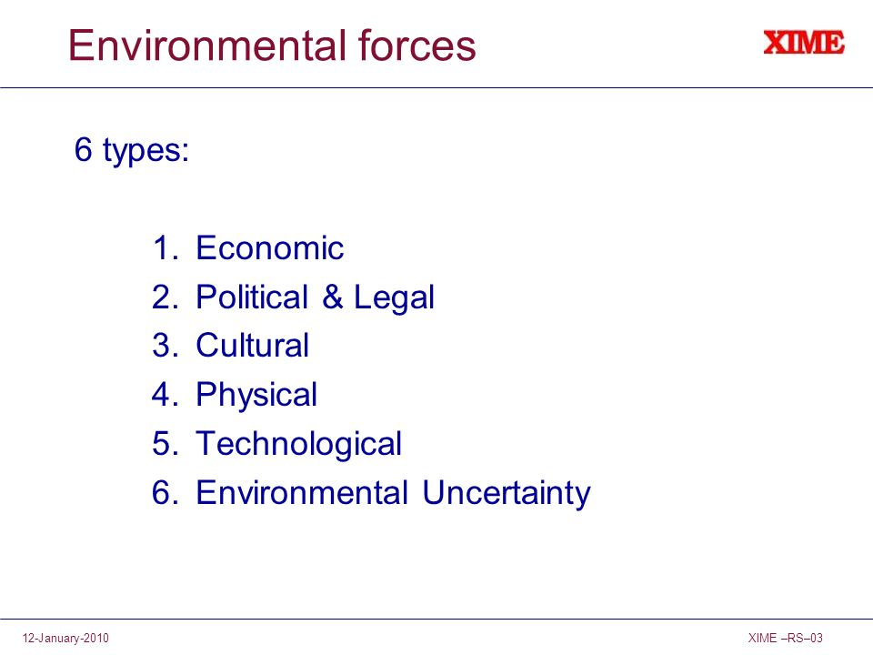Environmental forces 6 types: Economic Political & Legal Cultural