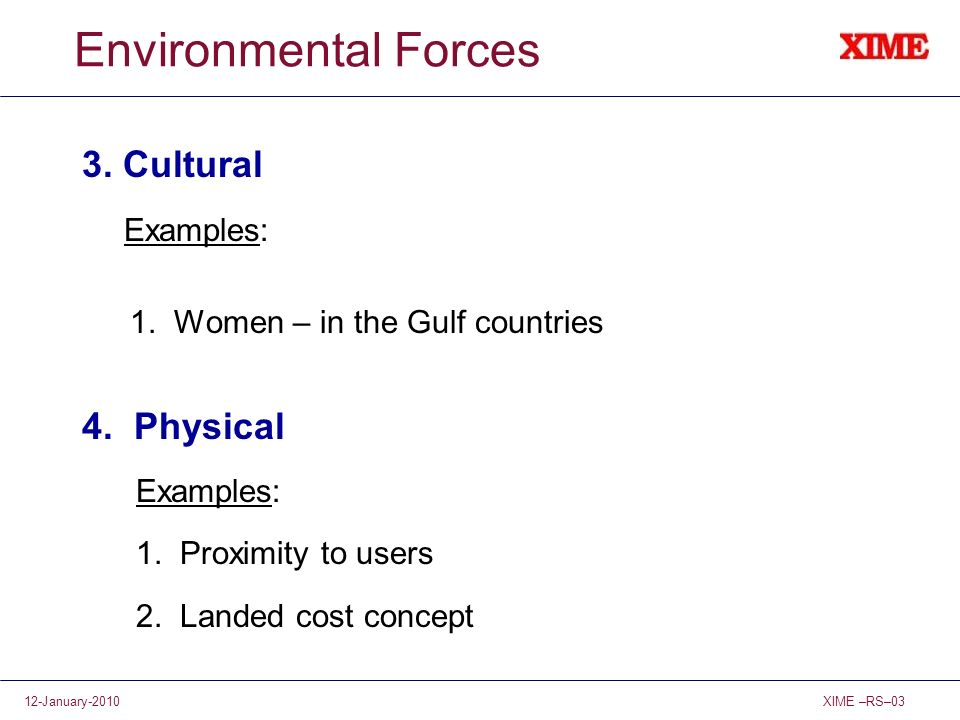 Environmental Forces 3. Cultural 4. Physical Examples: