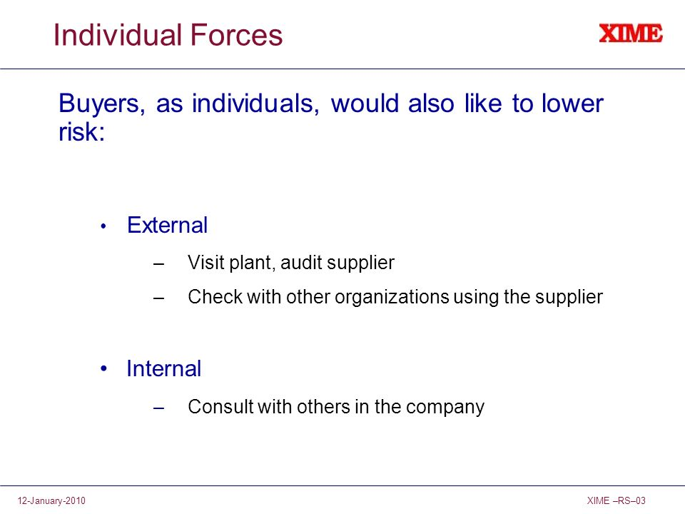Individual Forces Buyers, as individuals, would also like to lower risk: External. Visit plant, audit supplier.