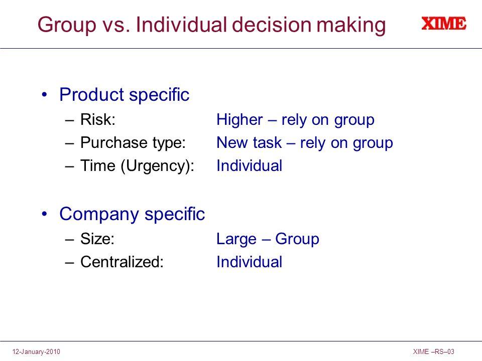 Group vs. Individual decision making