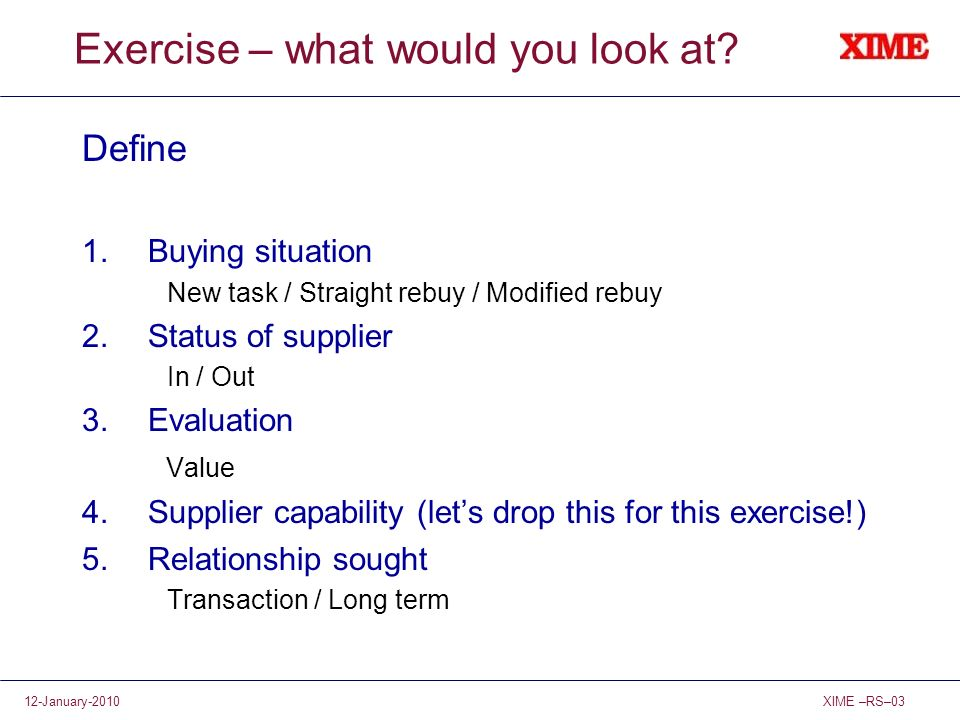 Exercise – what would you look at
