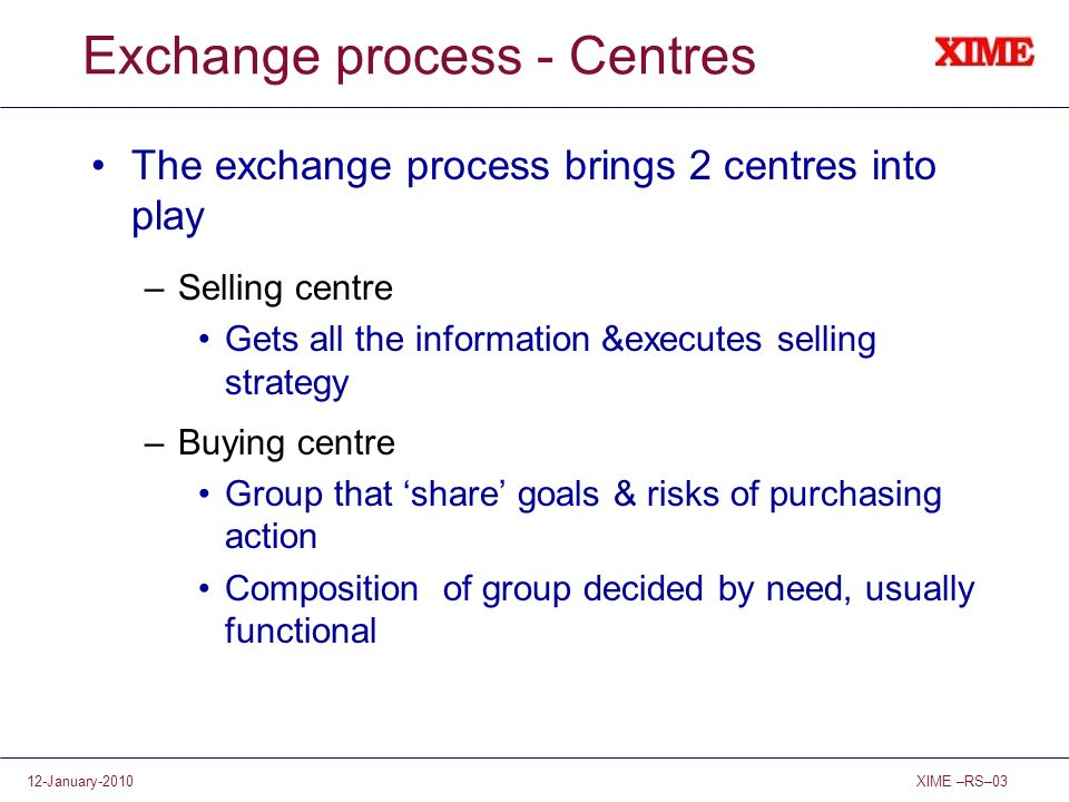Exchange process - Centres