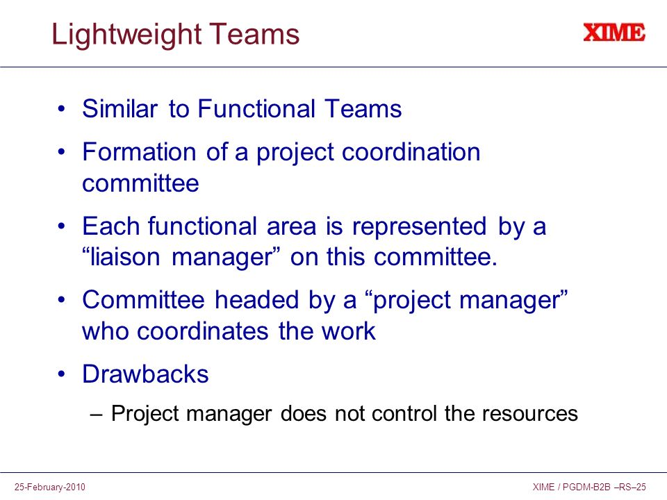 Lightweight Teams Similar to Functional Teams
