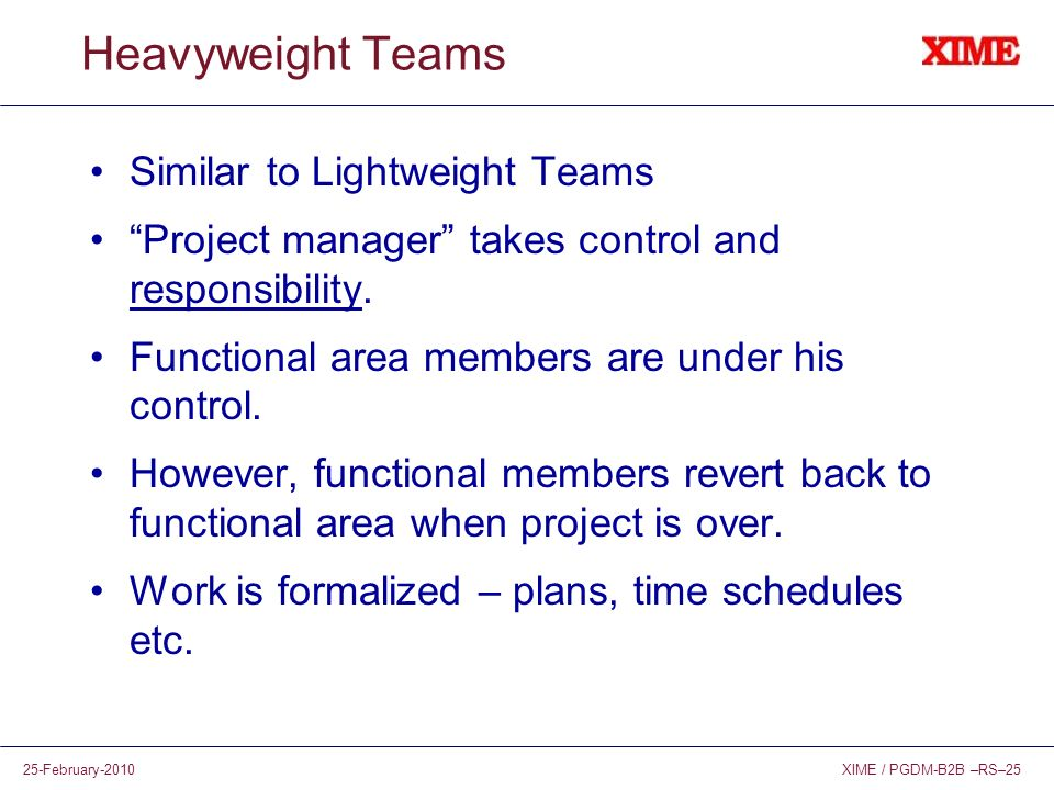 Heavyweight Teams Similar to Lightweight Teams