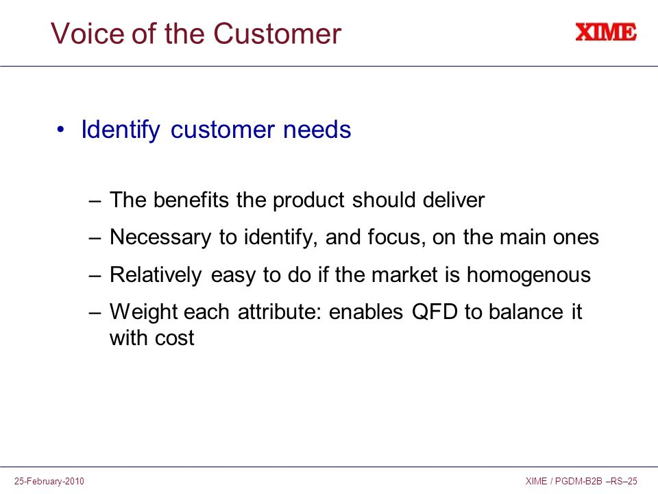 Voice of the Customer Identify customer needs