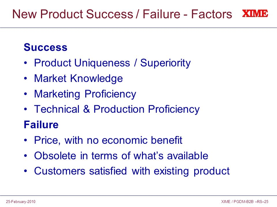 New Product Success / Failure - Factors