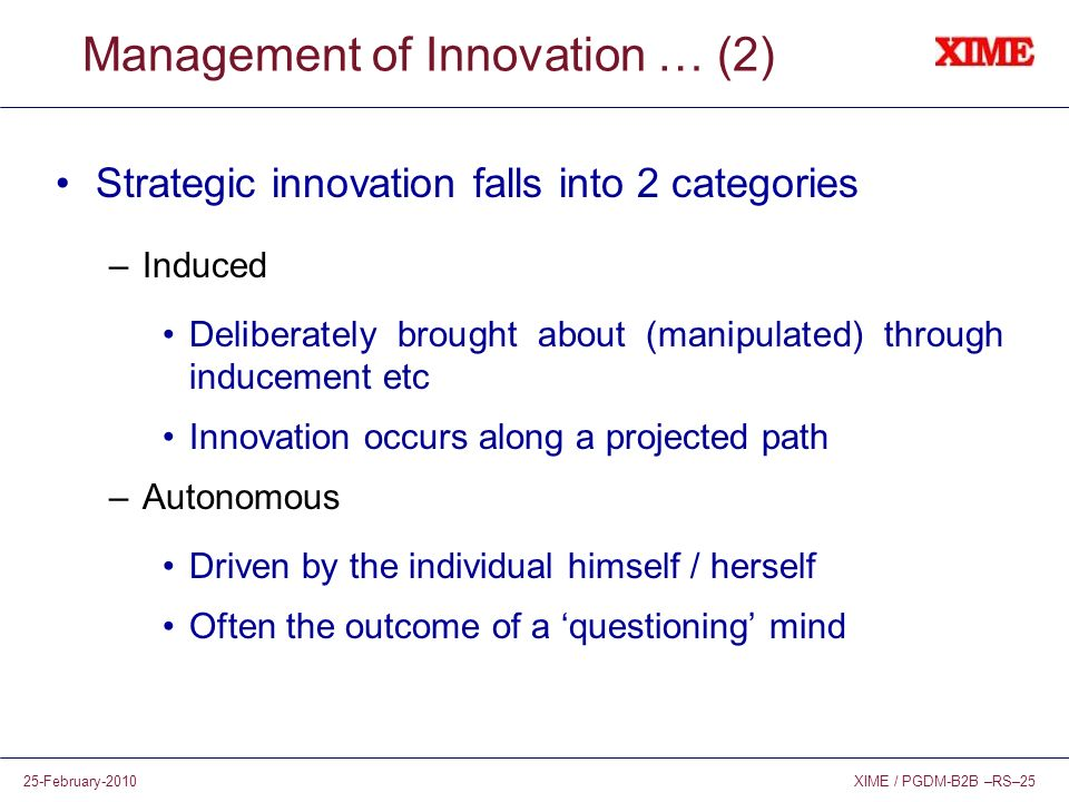 Management of Innovation … (2)