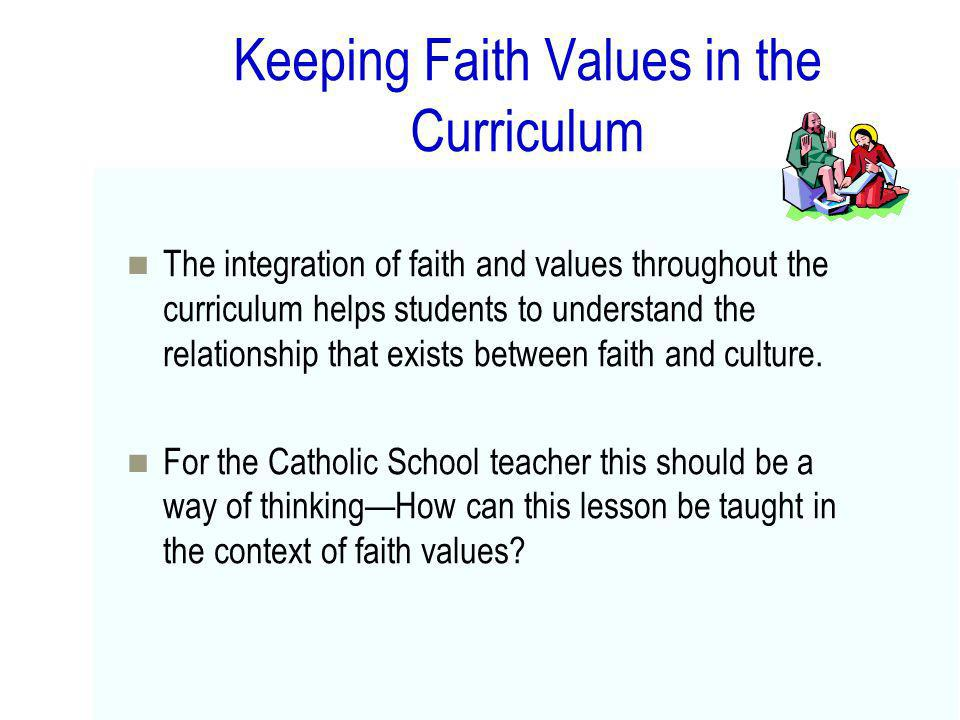 Keeping Faith Values in the Curriculum