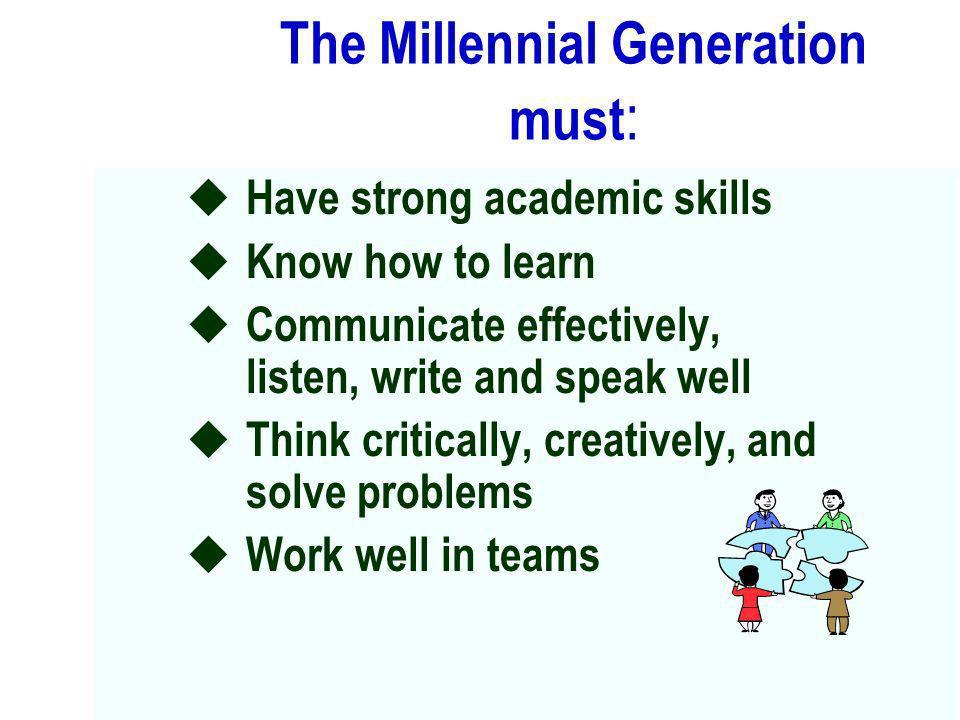 The Millennial Generation must: