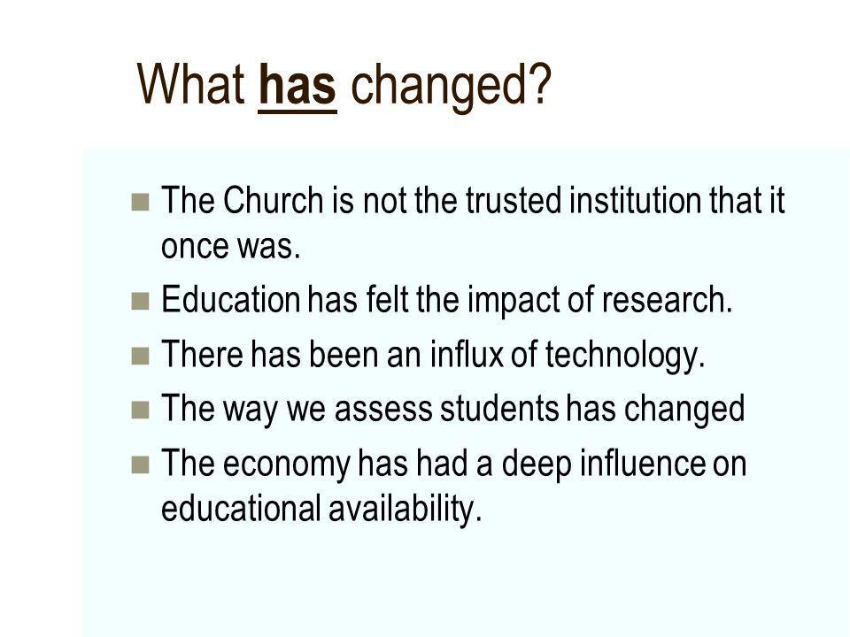What has changed The Church is not the trusted institution that it once was. Education has felt the impact of research.