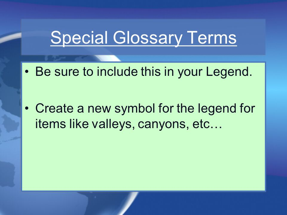 Special Glossary Terms