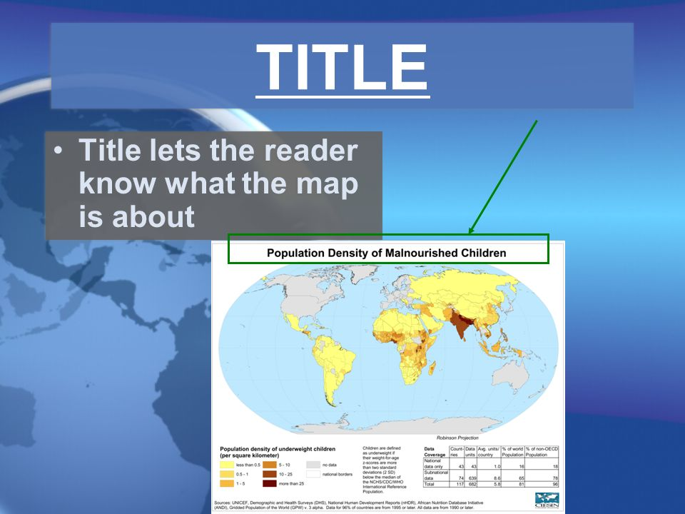 TITLE Title lets the reader know what the map is about