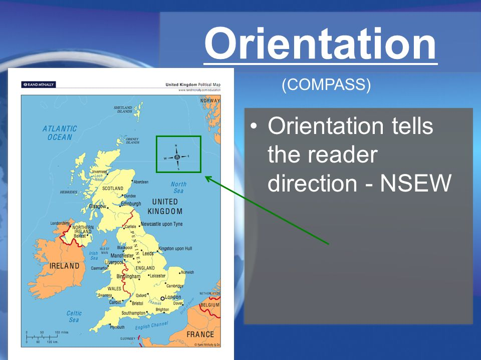 Orientation (COMPASS) Orientation tells the reader direction - NSEW