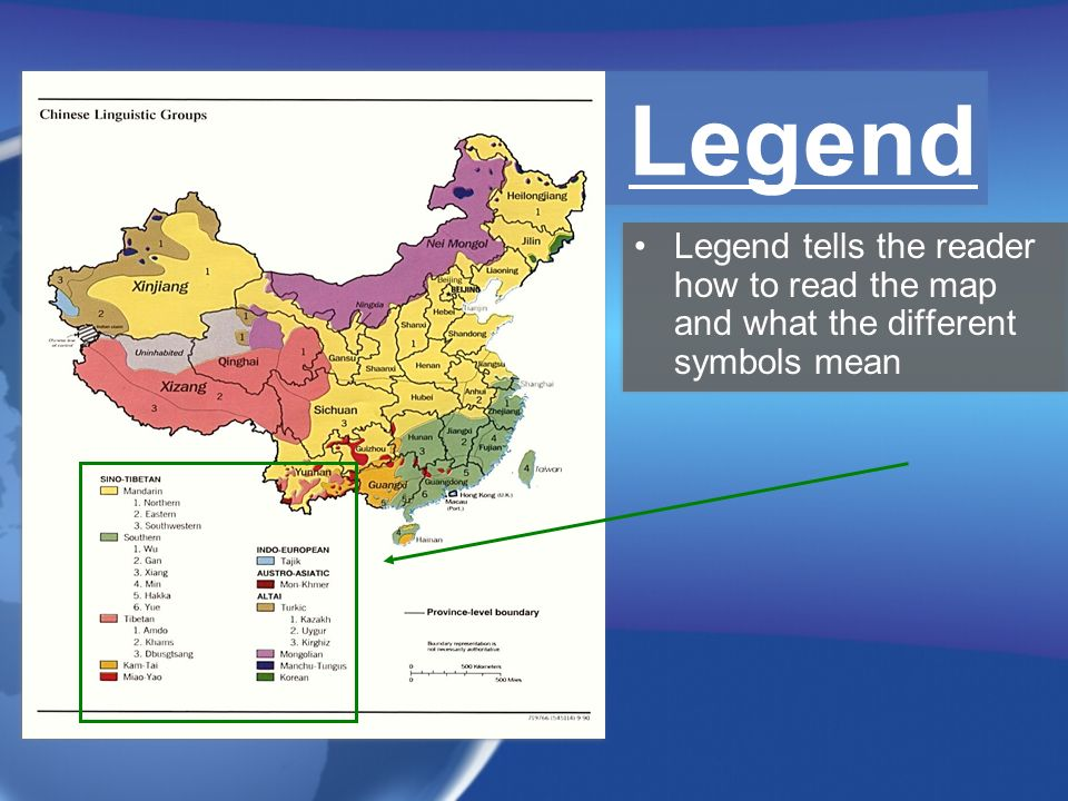 Legend Legend tells the reader how to read the map and what the different symbols mean