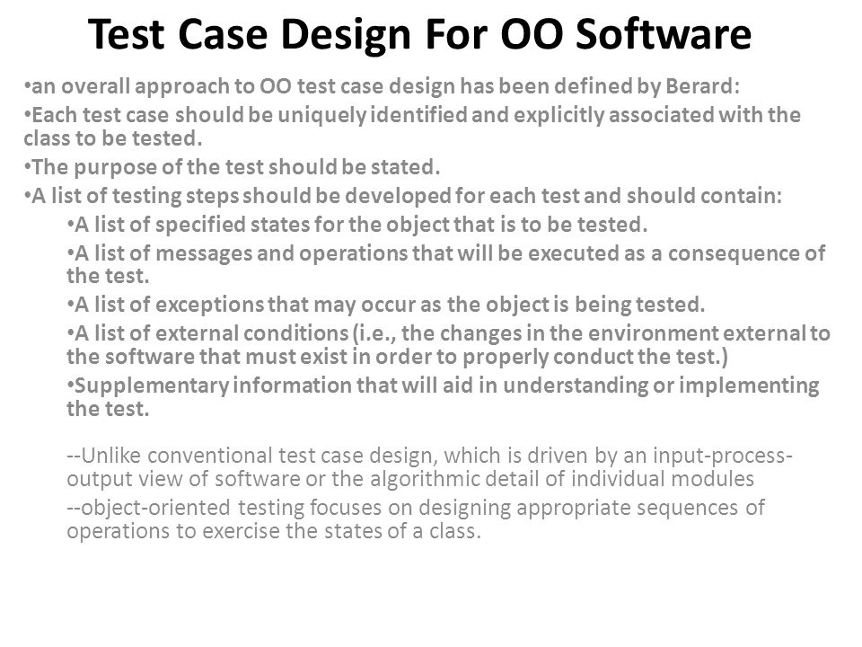 Test Case Design For OO Software