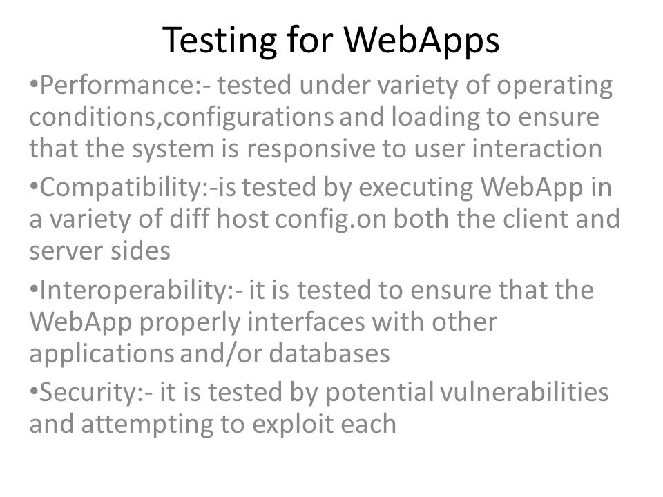 Testing for WebApps