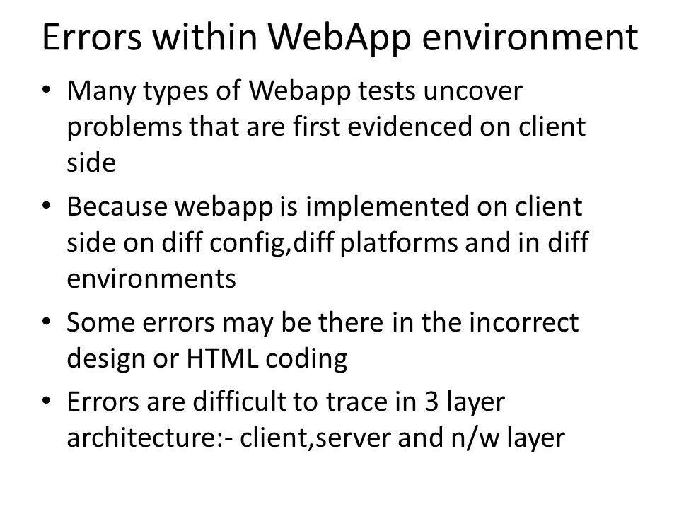 Errors within WebApp environment