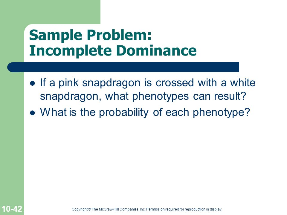 Sample Problem: Incomplete Dominance