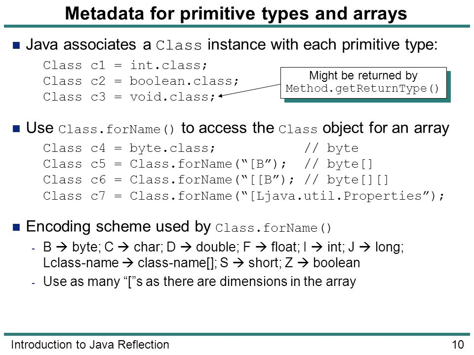 Metadata for primitive types and arrays
