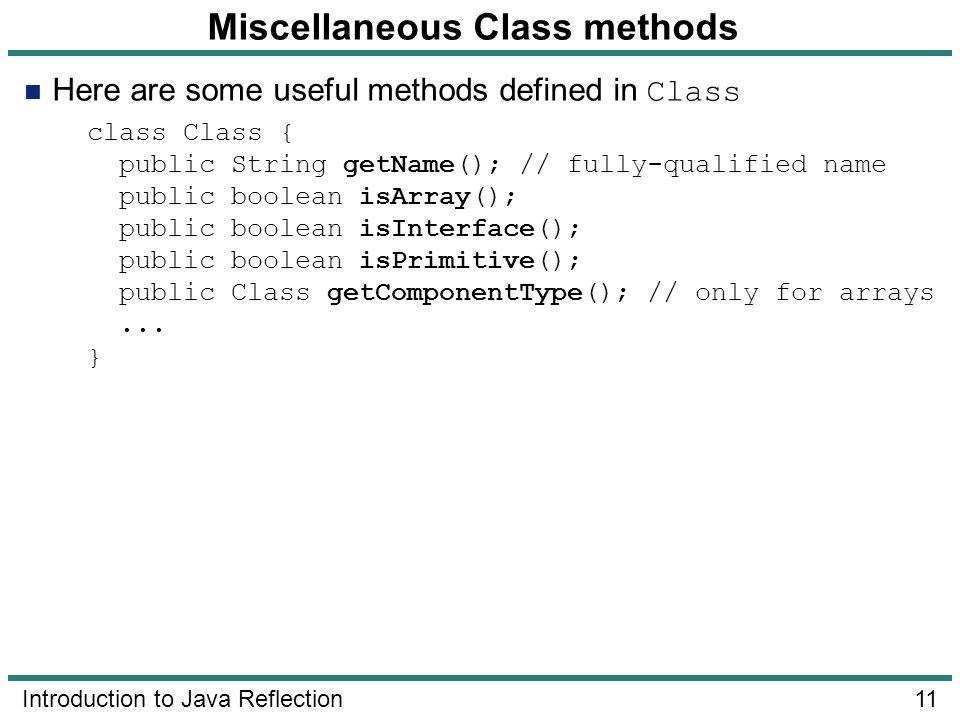Miscellaneous Class methods