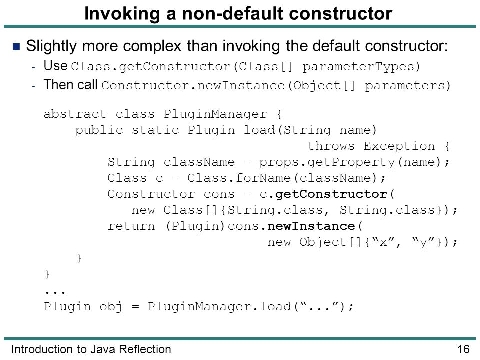 Invoking a non-default constructor
