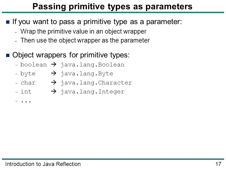 Passing primitive types as parameters