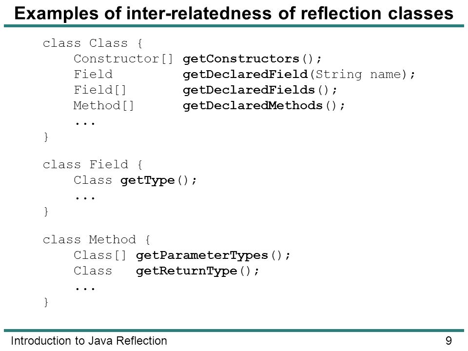 Examples of inter-relatedness of reflection classes