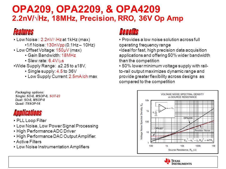 OPA209, OPA2209, & OPA4209 2.2nV/√Hz, 18MHz, Precision, RRO, 36V Op Amp