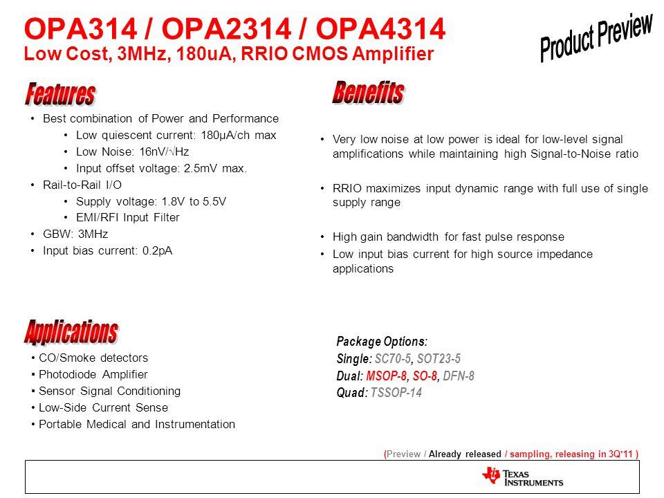 OPA314 / OPA2314 / OPA4314 Low Cost, 3MHz, 180uA, RRIO CMOS Amplifier