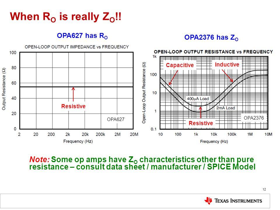 When RO is really ZO!! OPA627 has RO. OPA2376 has ZO. Capacitive. Inductive. Resistive. OPA627.