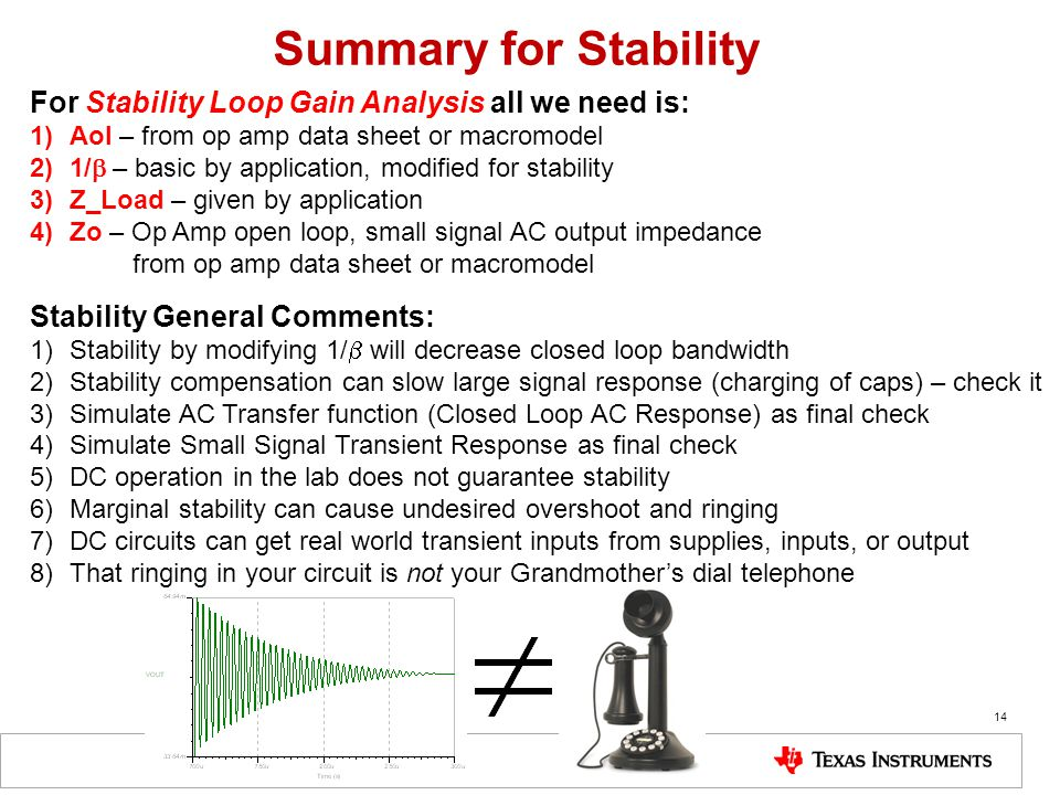 Summary for Stability For Stability Loop Gain Analysis all we need is: