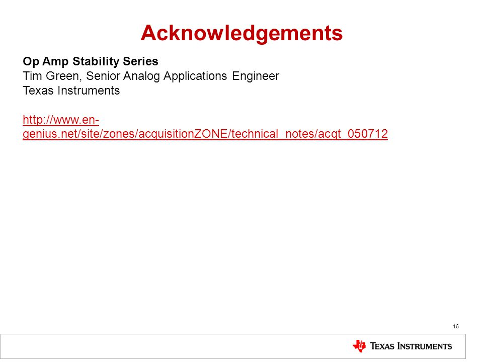 Acknowledgements Op Amp Stability Series
