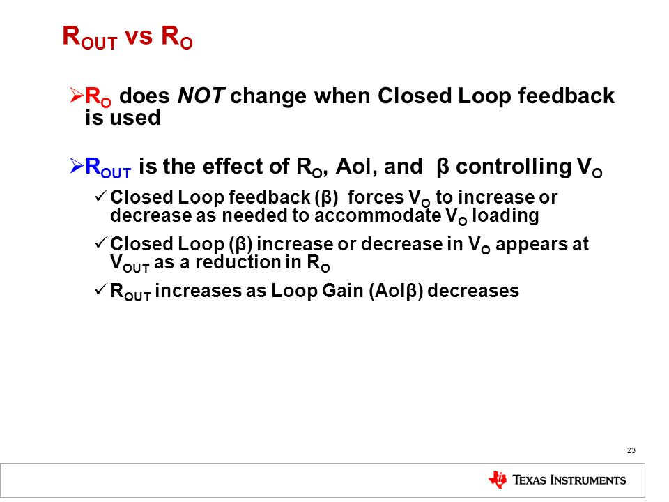 ROUT vs RO RO does NOT change when Closed Loop feedback is used