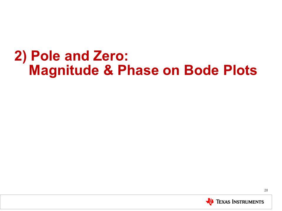 2) Pole and Zero: Magnitude & Phase on Bode Plots