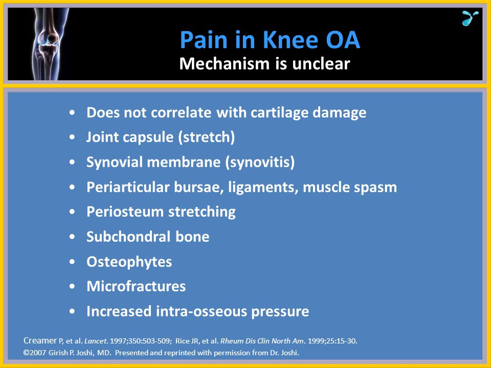 Pain in Knee OA Mechanism is unclear
