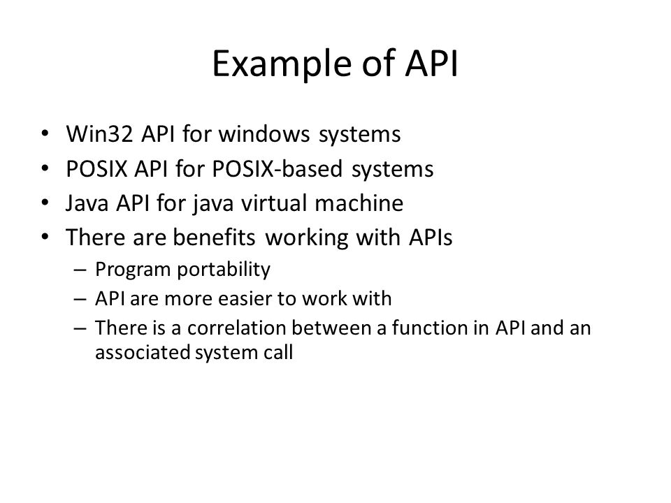Example of API Win32 API for windows systems