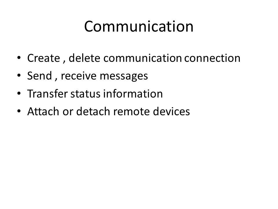 Communication Create , delete communication connection