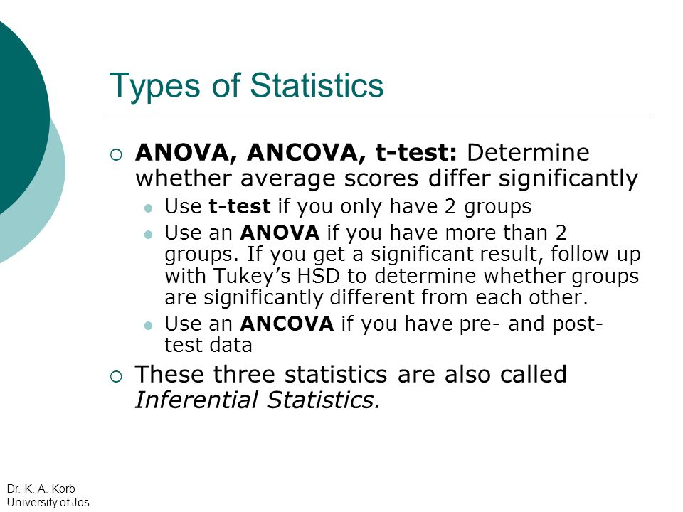 Types of Statistics ANOVA, ANCOVA, t-test: Determine whether average scores differ significantly. Use t-test if you only have 2 groups.