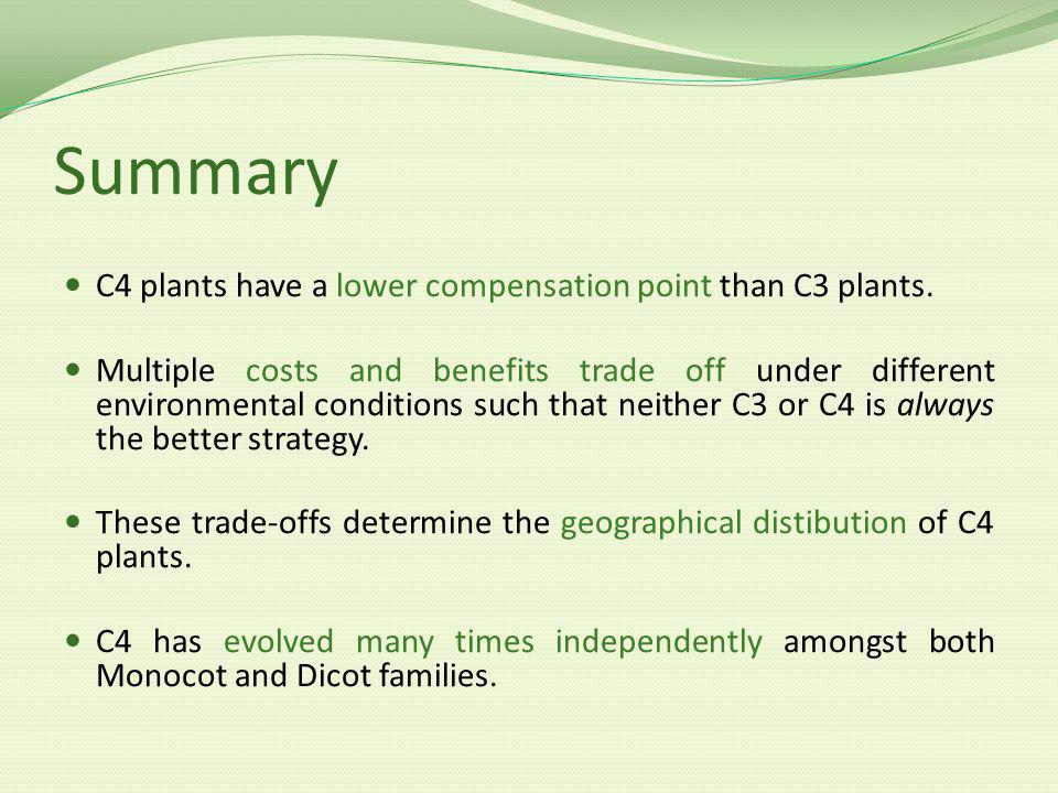 Summary C4 plants have a lower compensation point than C3 plants.