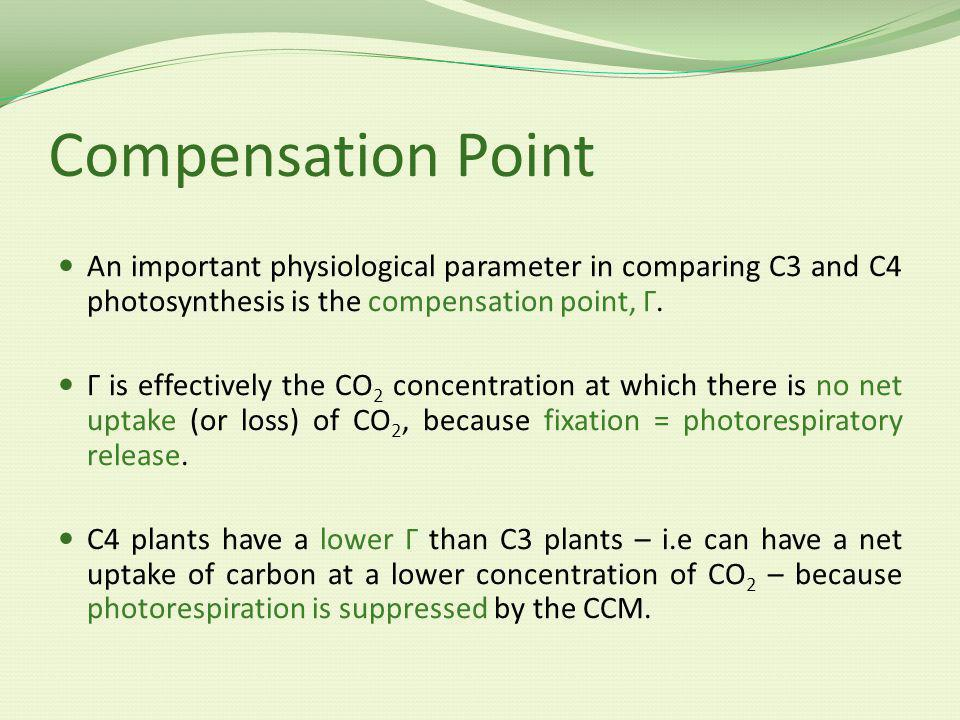 Compensation Point An important physiological parameter in comparing C3 and C4 photosynthesis is the compensation point, Γ.