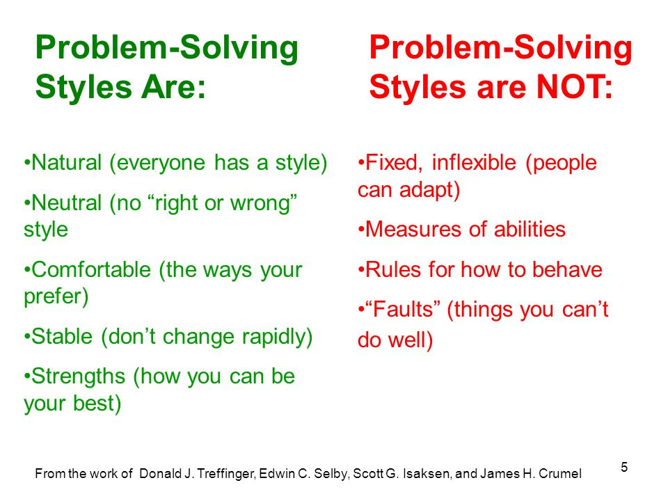 Problem-Solving Styles Are: Problem-Solving Styles are NOT: